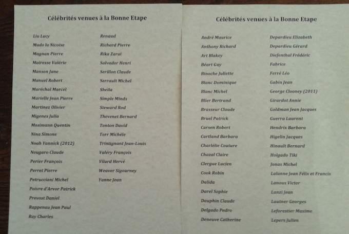 Guest list at La Bonne Étape