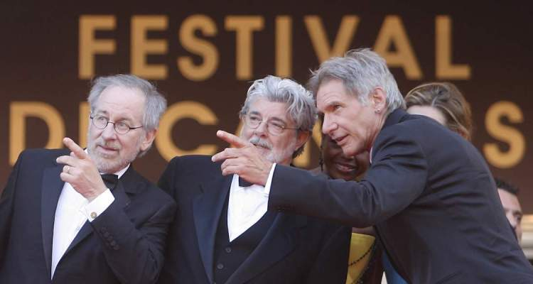 Cannes fait le mur - Spielberg, Lucas and Ford © Nice Matin
