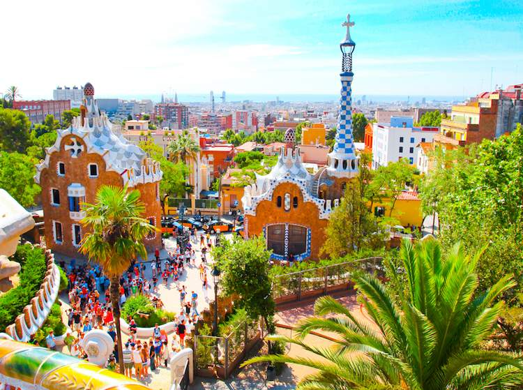 Gaudi's Park Guell in Barcelona on the Mediterranean