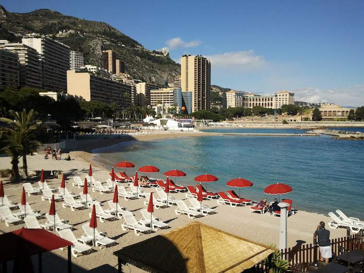 Larvotto Beach in Monaco on the Mediterranean