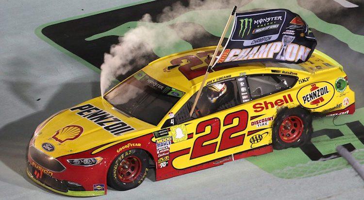 Joey Logano NASCAR celebrates