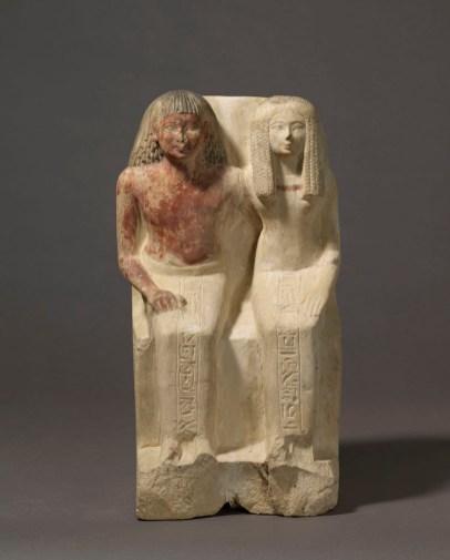 Statue du confiseur d'Amon Samout et de sa femme, la dame Moutnefert - ©2008 Musée du Louvre / Christian Décamps