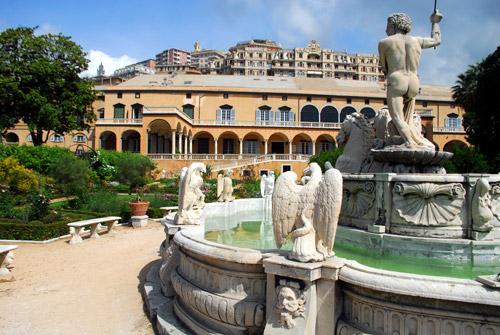 Rolli di Genova palazzo di principe con fontana in primo piano