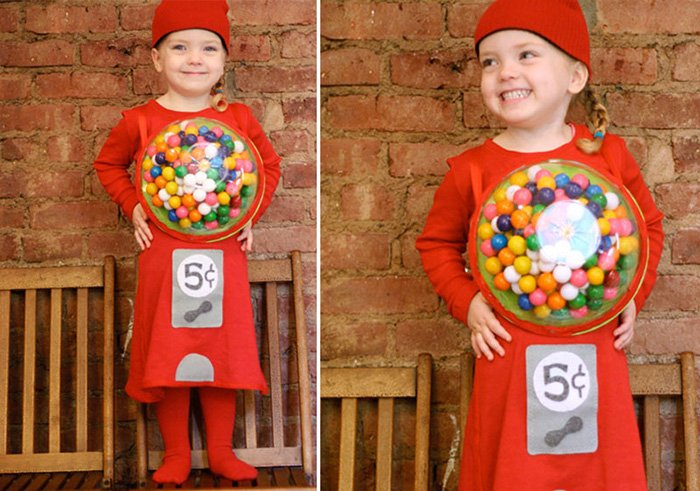 Costume di carnevale per tutta la famiglia macchinetta per le caramelle