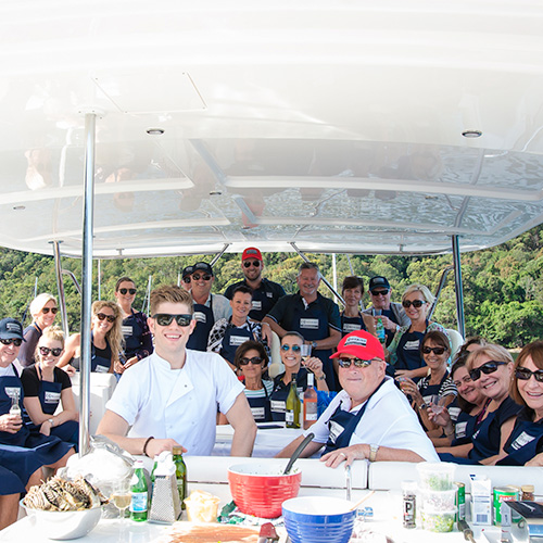 Bugs on the 'bridge for R Marine Pittwater cooking class