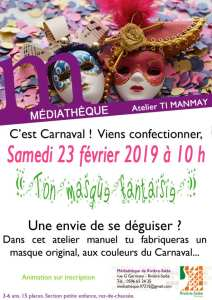 Atelier fabrication de masques carnaval