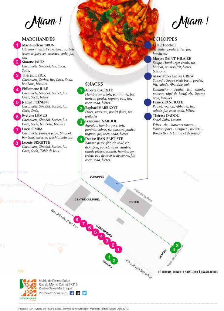 Plan des marchandes, snacks, échoppes de la fête patronale de Rivière-Salée