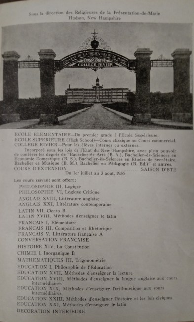 Program from Rivier University's first commencement, 1936