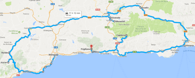 itinerario on the road andalusia 7 giorni tappe
