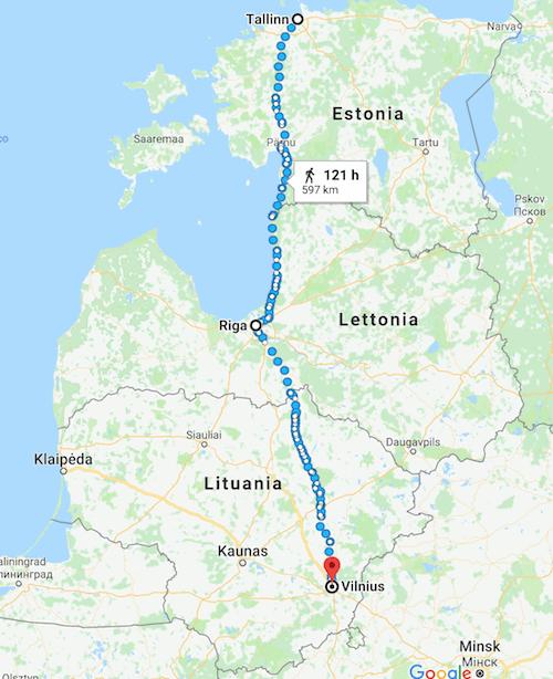 mappa itinerario viaggio repubbliche baltiche