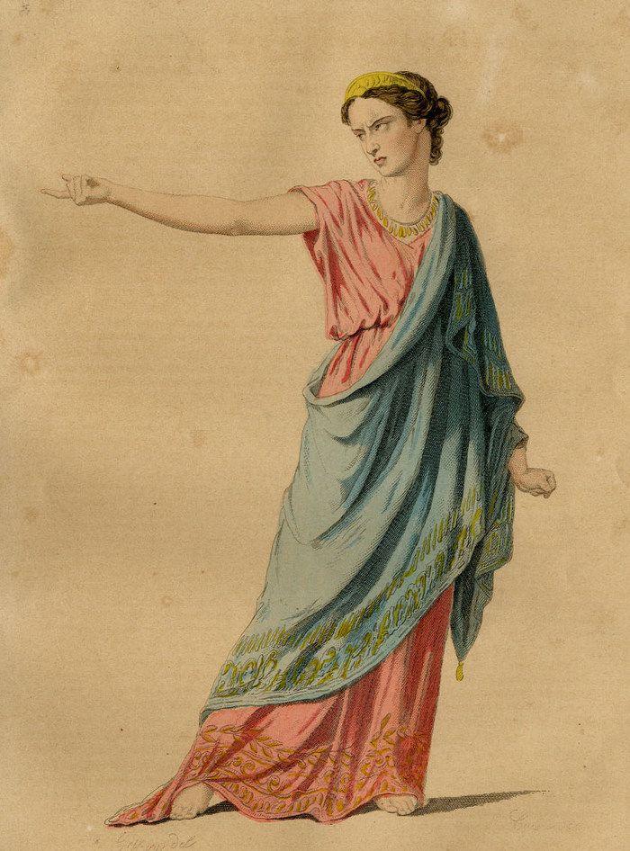 Hermione dans Andromaque de Racine, gravure originale du XIXe siècle.