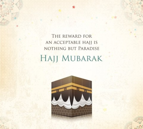 A hajj quote with hajj mubarak in English and Kaabah in one picture