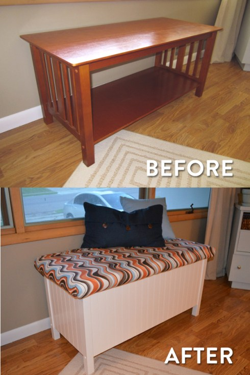Turn A Coffee Table Into A Bench Rixen It Up