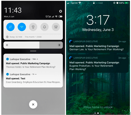 Image 1: Push Notifications for Larkspur Executive App in Android and iOS apps