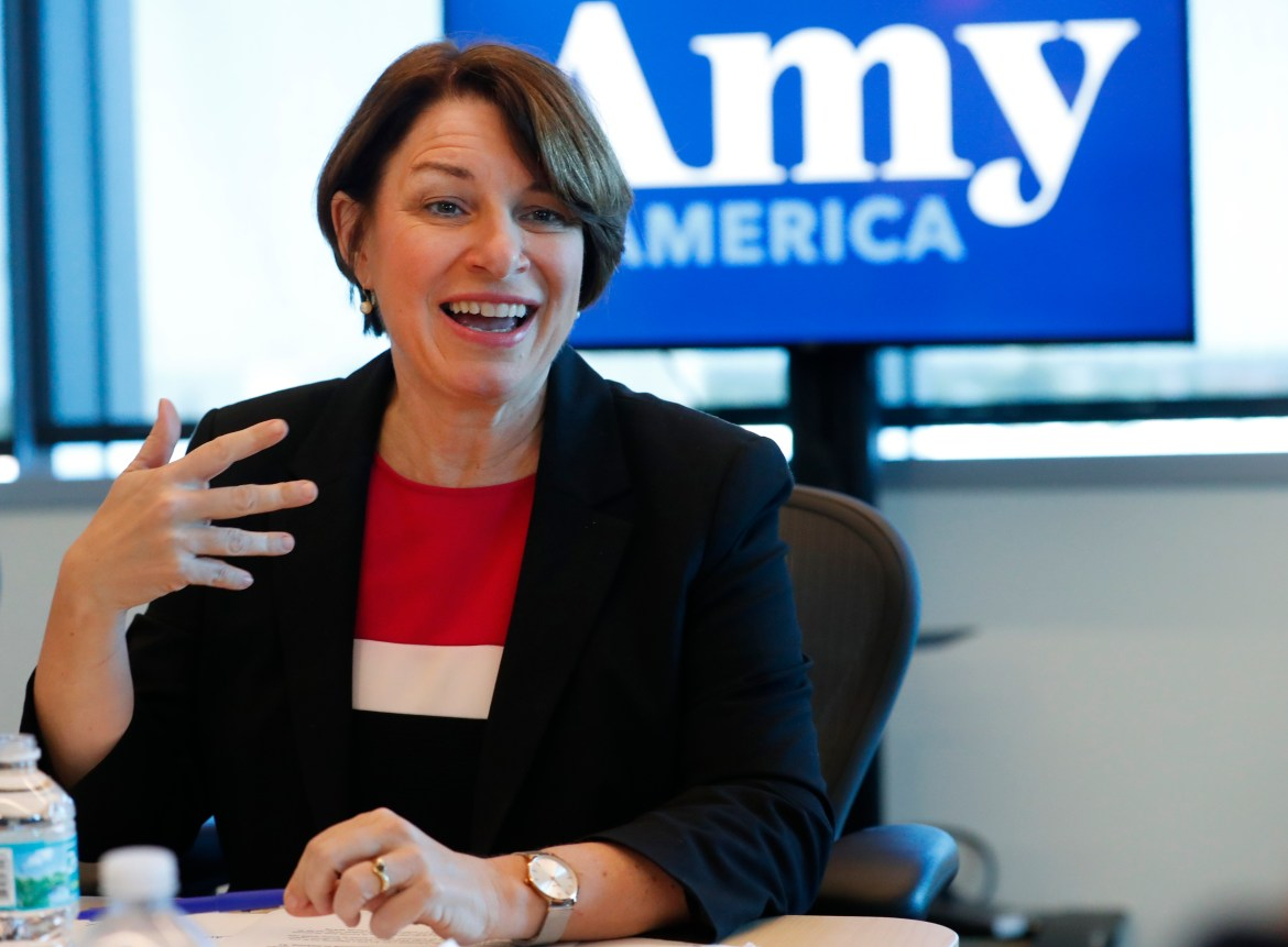 Democratic presidential candidate Amy Klobuchar speaks during a roundtable discussion on health care, April 16, 2019, in Miami.
