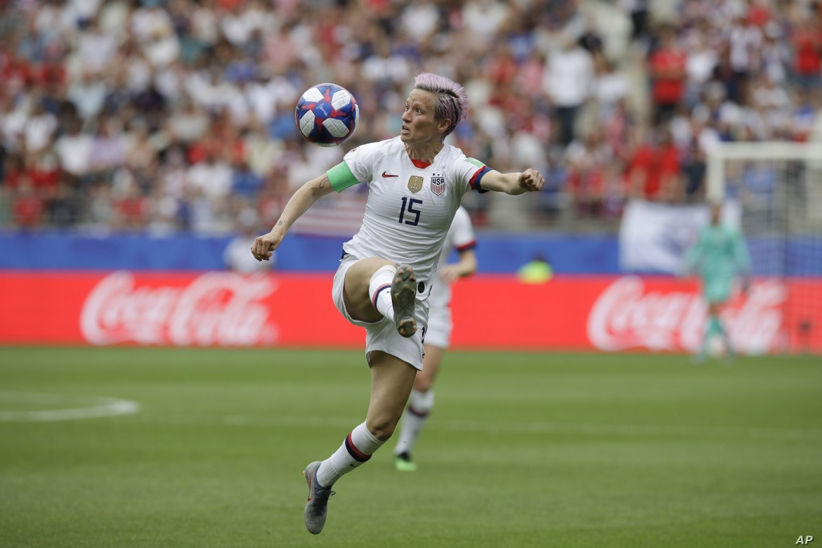 United States' Megan Rapinoe eyes the ball during the Women's World Cup round of 16 soccer match between Spain and the United States at Stade Auguste-Delaune in Reims, France, June 24, 2019.