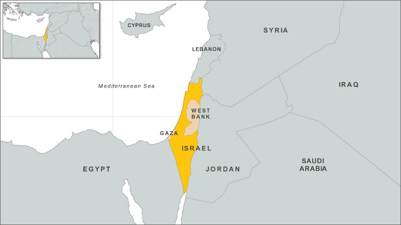 Israel, West Bank, Gaza map