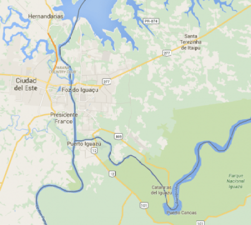 Triple frontière carte brésil argentine paraguay