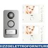 Kit villa 2 fili bifamiliare con 2 videocitofoni vivavoce Mìro a colori e pulsantiera Mikra