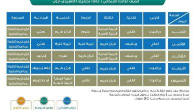 """صورة جدول الحصص اليومي للدروس """"الابتدائي"""" صفوف أولية"""