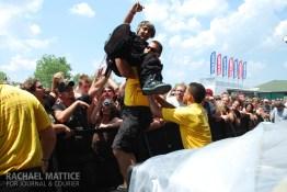 Fans crowd surf during Mayhem Festival at Klipsch Music Center in Noblesville, Ind. on Sunday, July 15 2012. (Photo by Rachael Mattice/Journal & Courier)