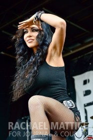 Butcher Babies perform on the Jagermeister Stage during Mayhem Festival at Klipsch Music Center in Noblesville, Ind. on Friday, July 26, 2013. (Photo by Rachael Mattice/Journal & Courier)