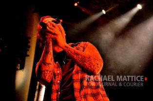 (Photo by Rachael Mattice/Journal & Courier) Avenged Sevenfold performs at Klipsch Music Center in Noblesville, Ind. on Saturday, October 5, 2013.