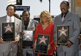 """AP photo March 3: Robert """"Bobby"""" Rogers, founding member of Motown group the Miracles (William """"Smokey"""" Robinson, Warren """"Pete"""" Moore, Claudette Robinson, and Robert """"Bobby"""" Rogers)"""