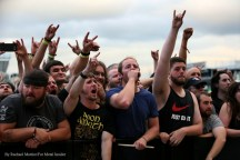 """""""Fans raise their horns during Meshuggah's set at Chicago Open Air music festival on Friday, July 14, 2016 at Toyota Park in Bridgeview, Ill. Photo by Rachael Mattice/For Metal Insider."""""""