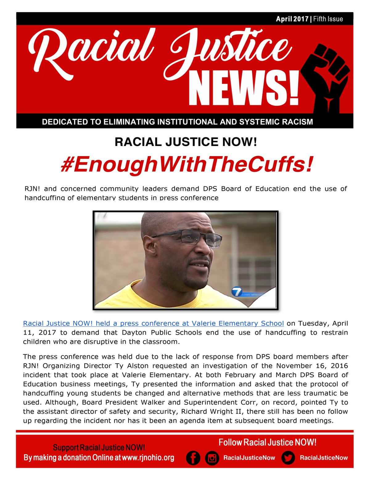 Racial Justice NOW! April 2017 Newsletter