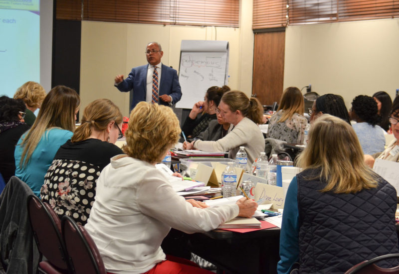 Antonio Fierro leads LETRS training for college faculty in Jackson, Mississippi, March 2018.
