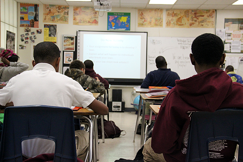 High school students sit in a rural Mississippi school classroom. Only about half of graduates from predominantly nonwhite rural high schools go to college, the same proportion as their counterparts from predominantly nonwhite, low-income urban high schools and fewer than the 69 percent national average.