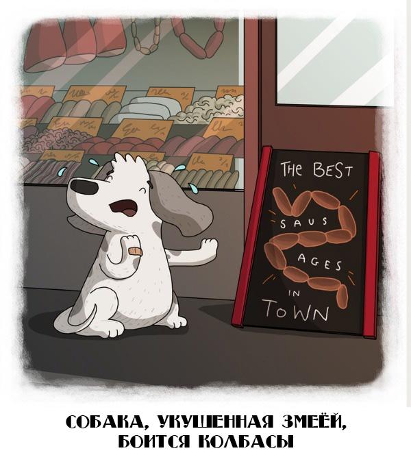 Собака, укушенная змеёй, боится колбасы
