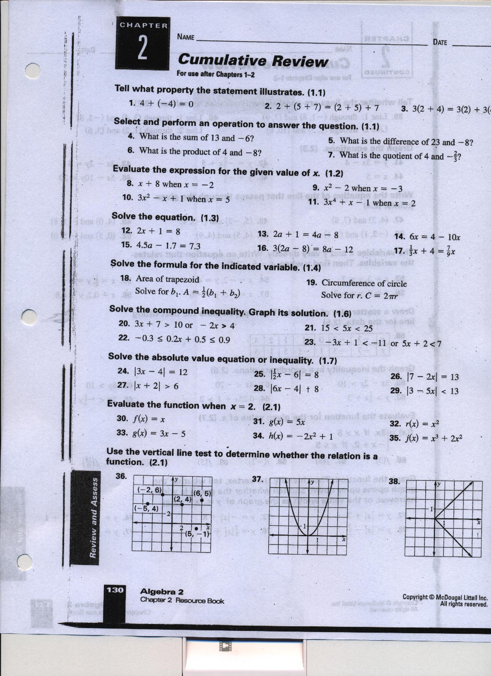 Holt Aleg 1 Math Worksheets Answers Holt Best Free