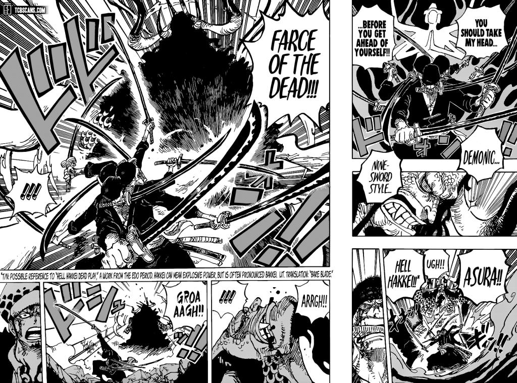 One Piece Chapter 1010-Zoro's Haki Attack, Farce of the Dead