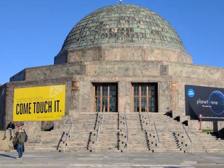 Standing outside of Adler Planetarium