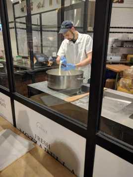 At the mozzarella lab at Eataly