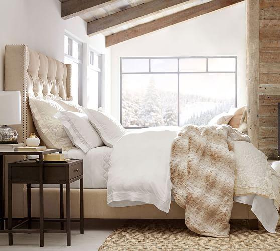 Harper Upholstered Tufted Tall Bed Amp Headboard Pottery Barn