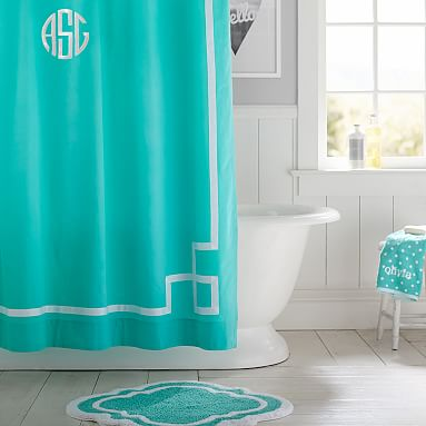 Emma Ribbon Trim Shower Curtain Pool PBteen