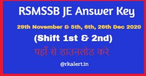 RSMSSB JE Answer Key