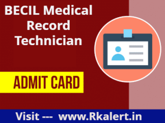 BECIL Medical Record Technician Admit Card 2021 exam date