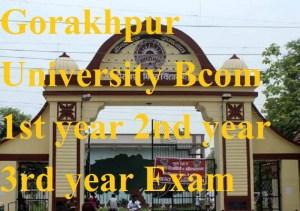 Gorakhpur University Bcom 1st year 2nd year 3rd year Exam Result