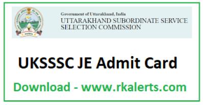 UKSSSC JE Admit Card 2020