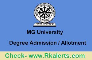 MG University 3rd Allotment Result 2021