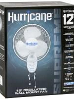 Hurricane® Oscillating Wall Mount Fan – 12in