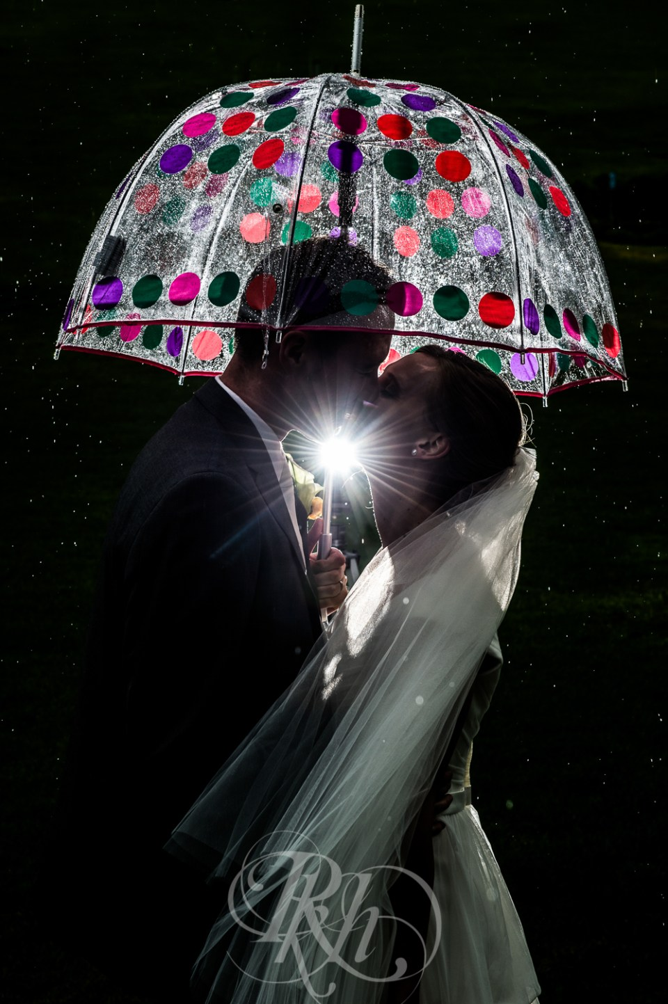 Rainy day wedding photo