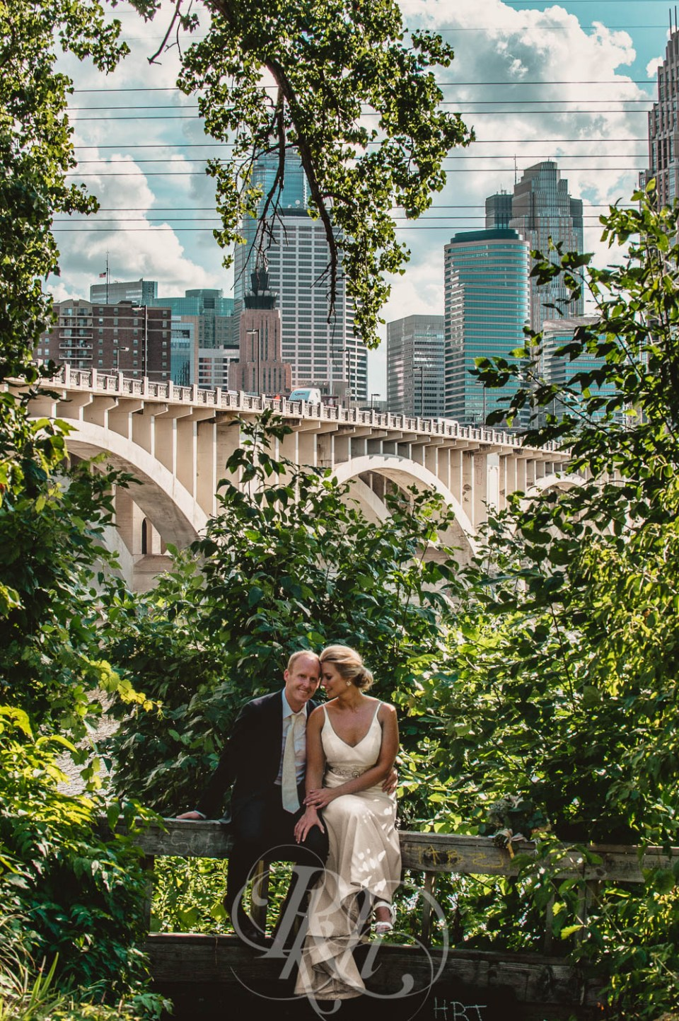 Third street bridge Minneapolis bride and groom