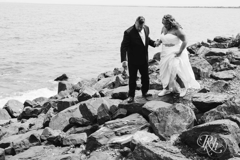 Bride and groom on Lake Superior