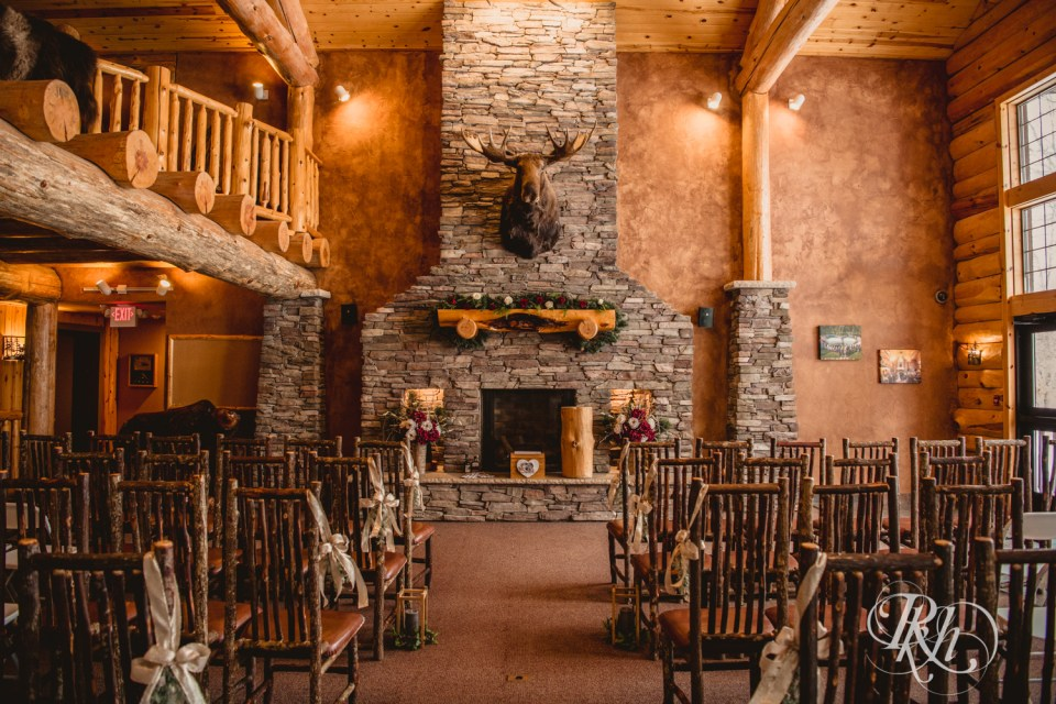 Whitefish Lodge winter wedding indoor ceremony
