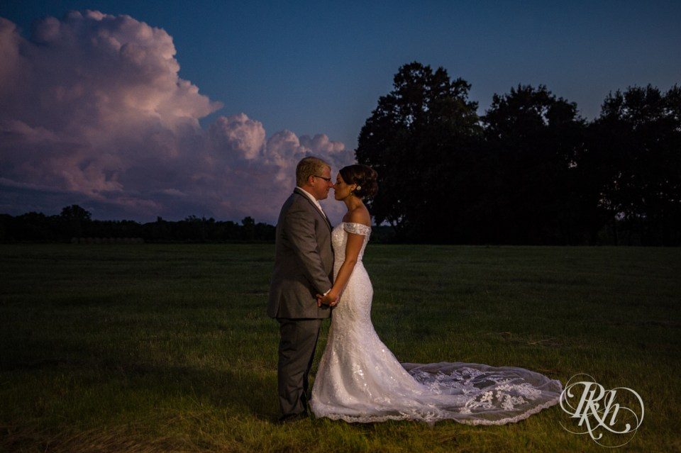 Bride and groom during blue hour